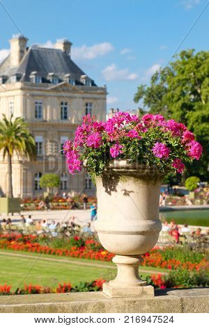 The Luxembourg Garden and Palace in Paris on a beautiful summer day
