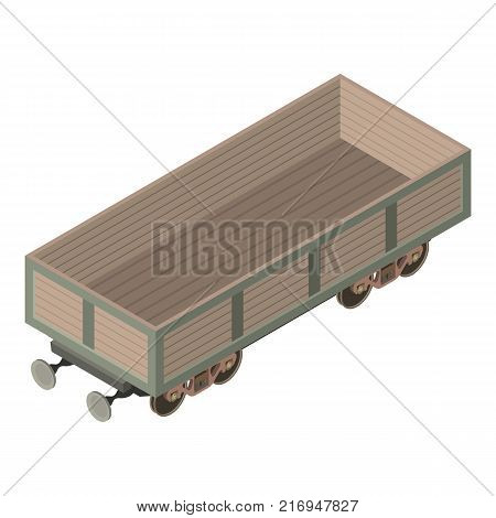 Wagon industry icon. Isometric illustration of wagon industry vector icon for web