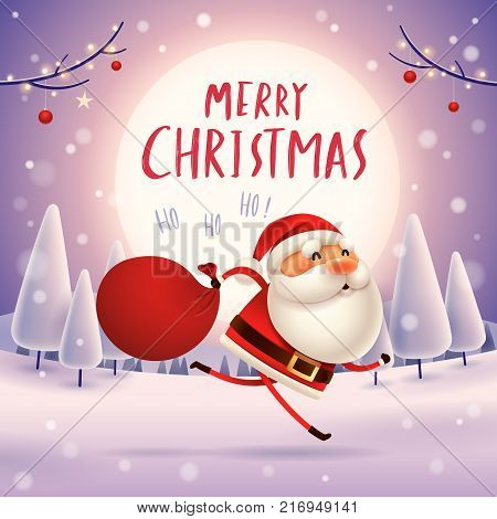 Santa Claus is coming! Santa Claus carrying sack with full of gifts.