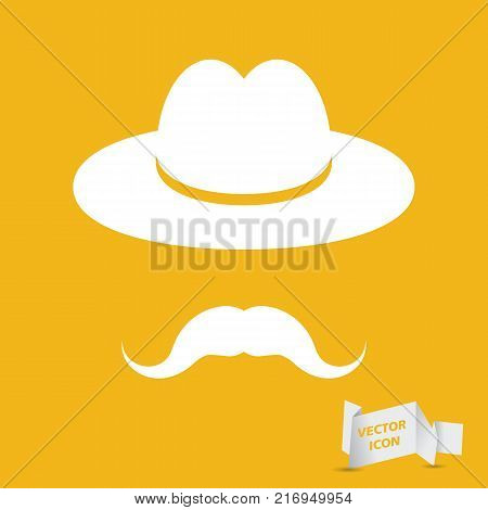 man mustache icon - white hat with mustache isolated on the yellow background