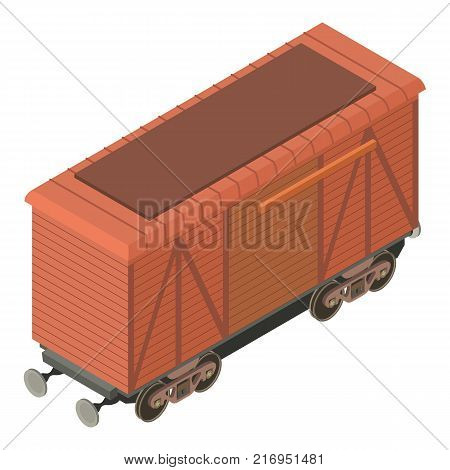 Wagon freight icon. Isometric illustration of wagon freight vector icon for web