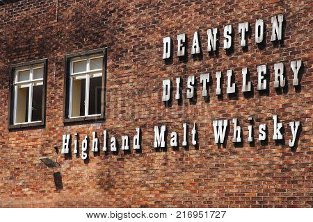 Deanston, Scotland - June 06, 2016: Deaston, one of Scotland's oldest and smallest producers of single malt whisky. Deaston, Scotland, UK