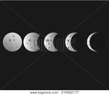 Moon phases vector. Astronomy and nature moon phases sphere. Cosmos theme