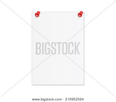 Realistic white sheet of paper. Orientation empty A4 white paper vector illustration. Red push office pin