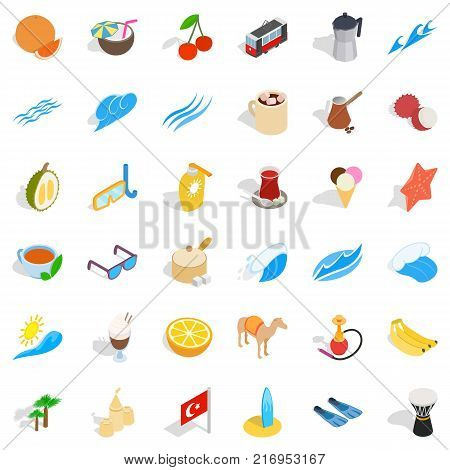 East culture icons set. Isometric style of 36 east culture vector icons for web isolated on white background