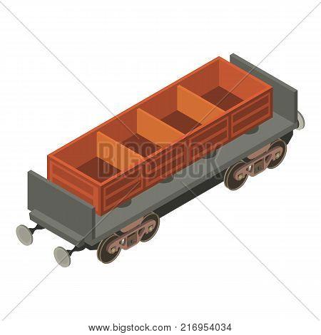 Wagon coal icon. Isometric illustration of wagon coal vector icon for web