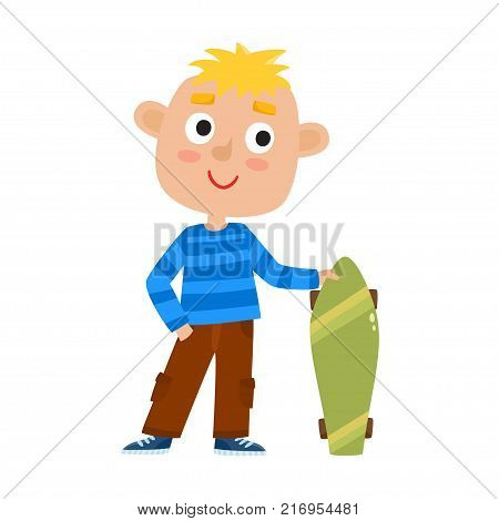 Summer activity skateboarding concept. Vector illustration of skateboarder boy stand with skateboard in cartoon style isolated on white background. Summer break, boy having free time. Happy child.
