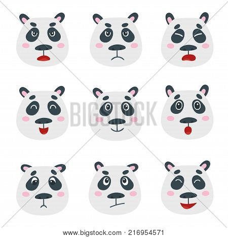 Vector set with sweet panda bear emotion faces isolated on white. Cute cartoon bear: anger, fear, surprise, joy, sadness moods.