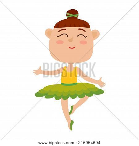 Vector cartoon illustration of happy little girl dancer. Cute ballet dancer girl dancing in green tutu and pointe shoes isolated on white background.