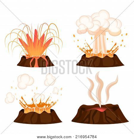 Volcanic eruption stages vector illustrations set. Steaming volcano, hot burning lava approach, splash and spreading isolated on white background. Vulcanology concept in flat design cartoon style
