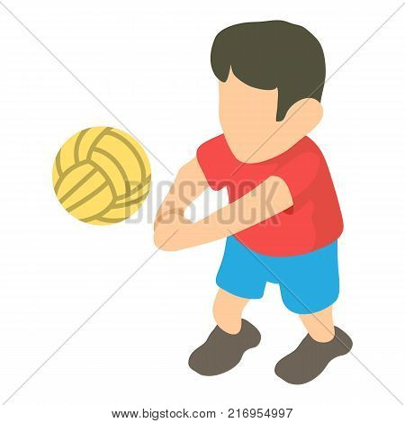 Volleyball player icon. Isometric illustration of volleyball player vector icon for web