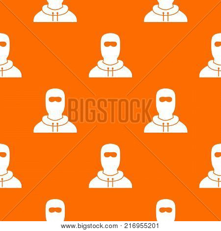 Man in balaclava pattern repeat seamless in orange color for any design. Vector geometric illustration