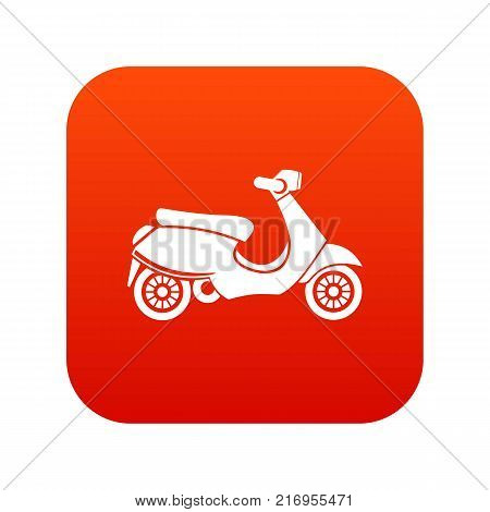Vespa scooter icon digital red for any design isolated on white vector illustration
