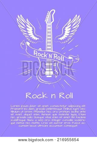 Rock n roll music bright poster with winged electrical guitar crossed by sign with words Rock and Roll. Vector illustration on purple background