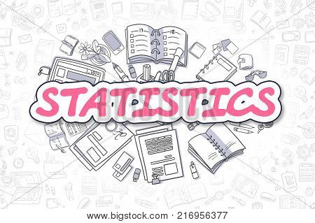 Statistics - Hand Drawn Business Illustration with Business Doodles. Magenta Word - Statistics - Doodle Business Concept.