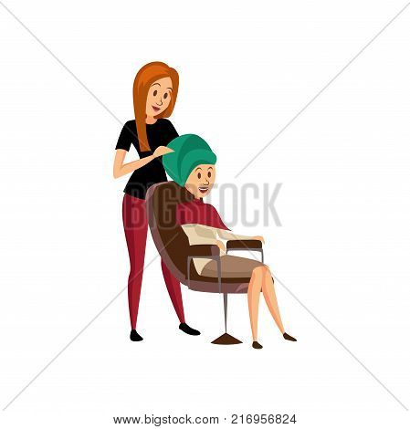 Female hairdresser serving client, professional hair stylist at workplace cartoon vector Illustration on a white background