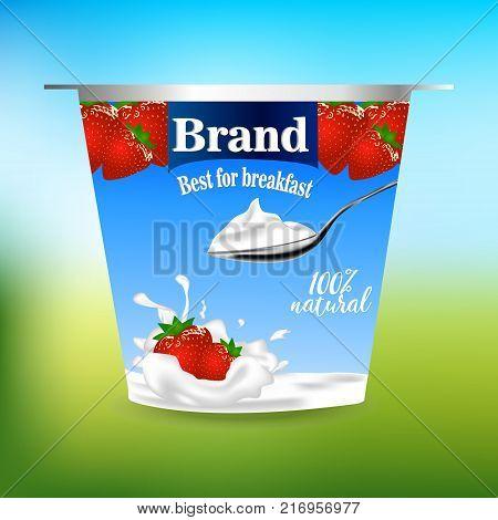 strawberry flavor yogurt ad, with milk splashing and strawberry elements,