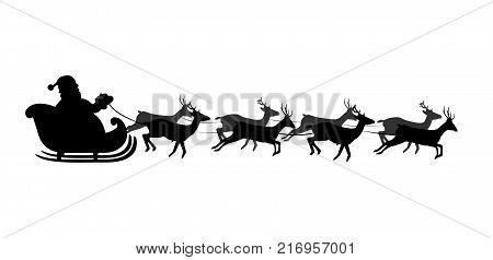 Black silhouette of Santa's sledge Isolated on white background. Vector illustration icon clip art.