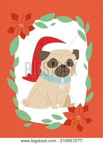 Christmas 2018 dog card vector cute cartoon puppy characters illustration home pets doggy Xmas print design web banner celebrate in Santa Red Hat.