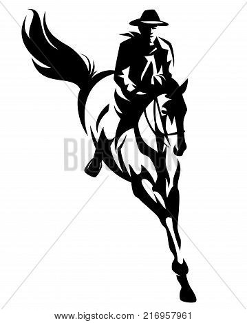 cowboy riding jumping horse black and white vector design