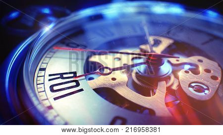 Vintage Watch Face with ROI - Return Of Investment Inscription, CloseUp View of Watch Mechanism. Business Concept. Film Effect. 3D.