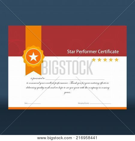 Star performer certificate with red top half and golden ribbon and five stars on right ready for print