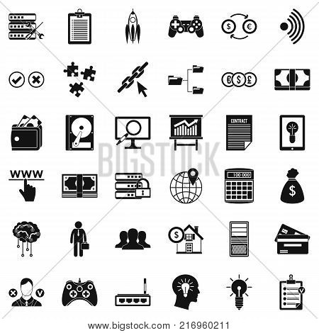 Organization icons set. Simple style of 36 organization vector icons for web isolated on white background