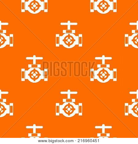 Pipe with a valves pattern repeat seamless in orange color for any design. Vector geometric illustration