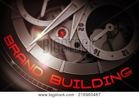 Brand Building on Face of Automatic Men Pocket Watch Machinery Macro Detail Monochrome. Brand Building on the Men Watch, Chronograph Close Up. Time and Business Concept with Lens Flare. 3D Rendering.