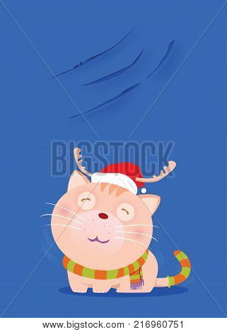 Dark cute cats wearing red hats and scarves to mimic Santa Claus and show off nails scratch on the wall.