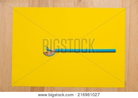 Colorful crayons. Many different colored pencils. Colorful of color pencil isolated on yellow with copyspace