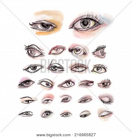 Eyes watercolor set of 25 pieces pastel colors were hand painted with black strokes on dreamy eyes