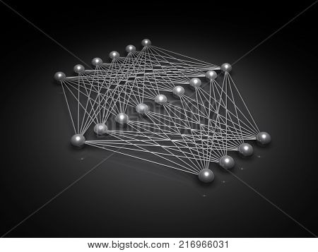 Artificial shallow neural network structure digital illustration with schematic model 3d render