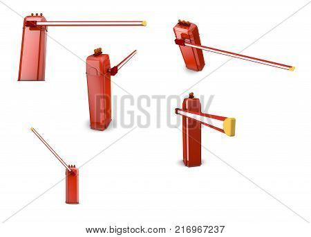 Automatic barrier on white background. 3d render