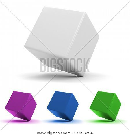 3d shiny colorful cubes, on white background poster