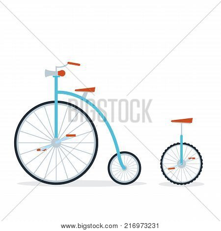 Circus bike and unicycle. Flat style on isolated background.