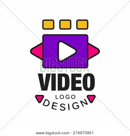Colorful abstract video logo template creative design with play button. Cinematography or film industry concept. Black outline with pink and purple fill. Flat line style vector icon illustration.