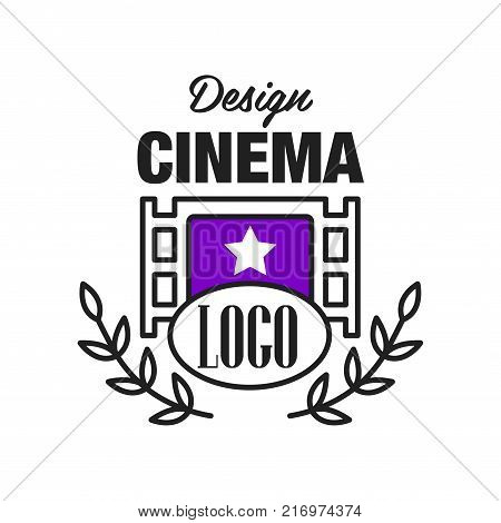 Flat cinema or movie logo template creative design with retro filmstrip and floral ornament, laurel branches. Cinematography or film industry emblem concept. Line style vector icon illustration.