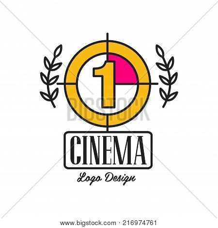 Black and yellow cinema or movie logo template creative design with old retro filmstrip countdown, number one and laurel branches. Cinematography emblem concept. Flat line vector icon illustration.