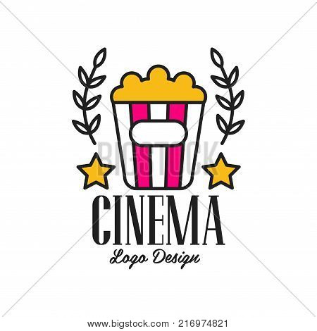Colorful abstract cinema or movie logo template creative design with popcorn, stars, laurel branches and text. Cinematography and film industry emblem concept. Flat line style vector icon illustration