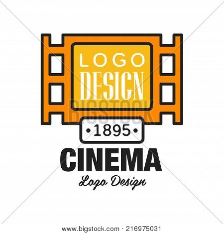 Creative geometric cinema or movie logo template design. Cinematography and film industry emblem concept with old retro vintage orange filmstrip and text. Flat line style vector icon illustration.