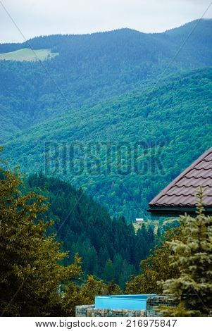 View from a house in the mountains. Forest on the slope of the mountain. Ukraine, Yaremche, the Carpathians.