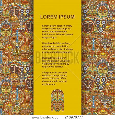 Flat poster or banner template with ethnic masks. Vector illustration.