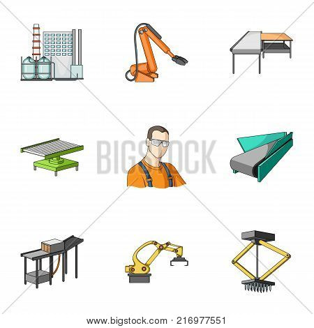 Factory equipment and machines and other  icon in cartoon style.New production technologies icons in set collection.