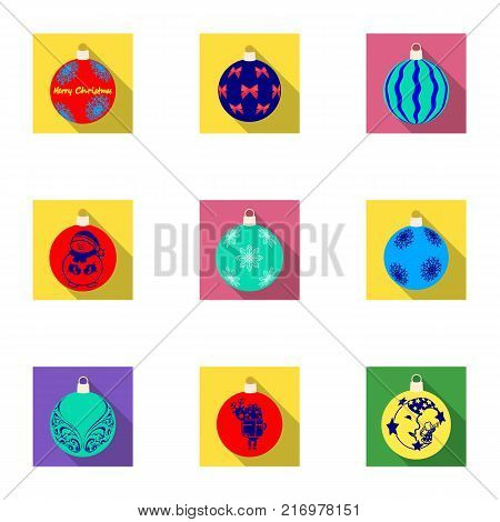 Toys for a Christmas tree flat icons in set collection for design.New Year ballsvector symbol stock  illustration.