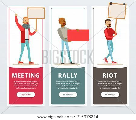 Meeting, rally, riot banners set, men with picket signs protesting flat vector elements for website or mobile app with sample text