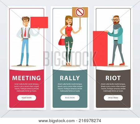 Meeting, rally, riot banners set, people with picket signs protesting and expressing demands flat vector elements for website or mobile app with sample text