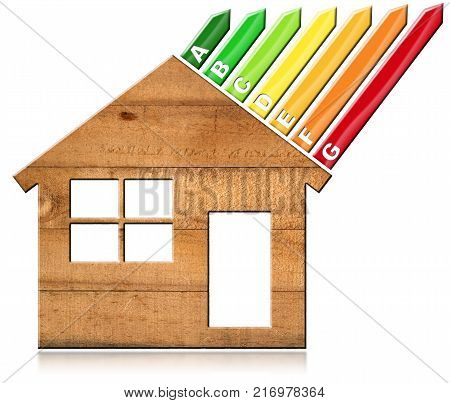 Energy Efficiency - 3D illustration of a symbol in the shape of wooden house with energy efficiency rating. Isolated on white background