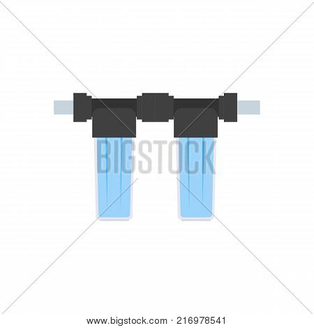 Detail for the scheme of water supply and purification of water from the well. Flat style. Two small empty glass bulb cartridge filter filter with water poster