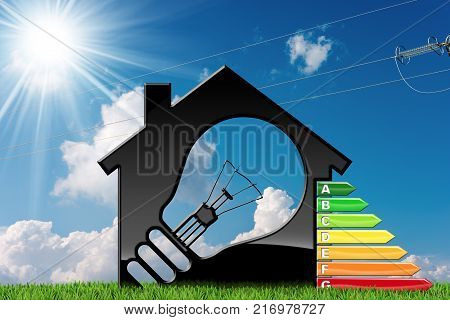 Energy Efficiency - 3D illustration of a model house with a light bulb and energy efficiency rating on green grass with blue sky clouds sun rays and a power line